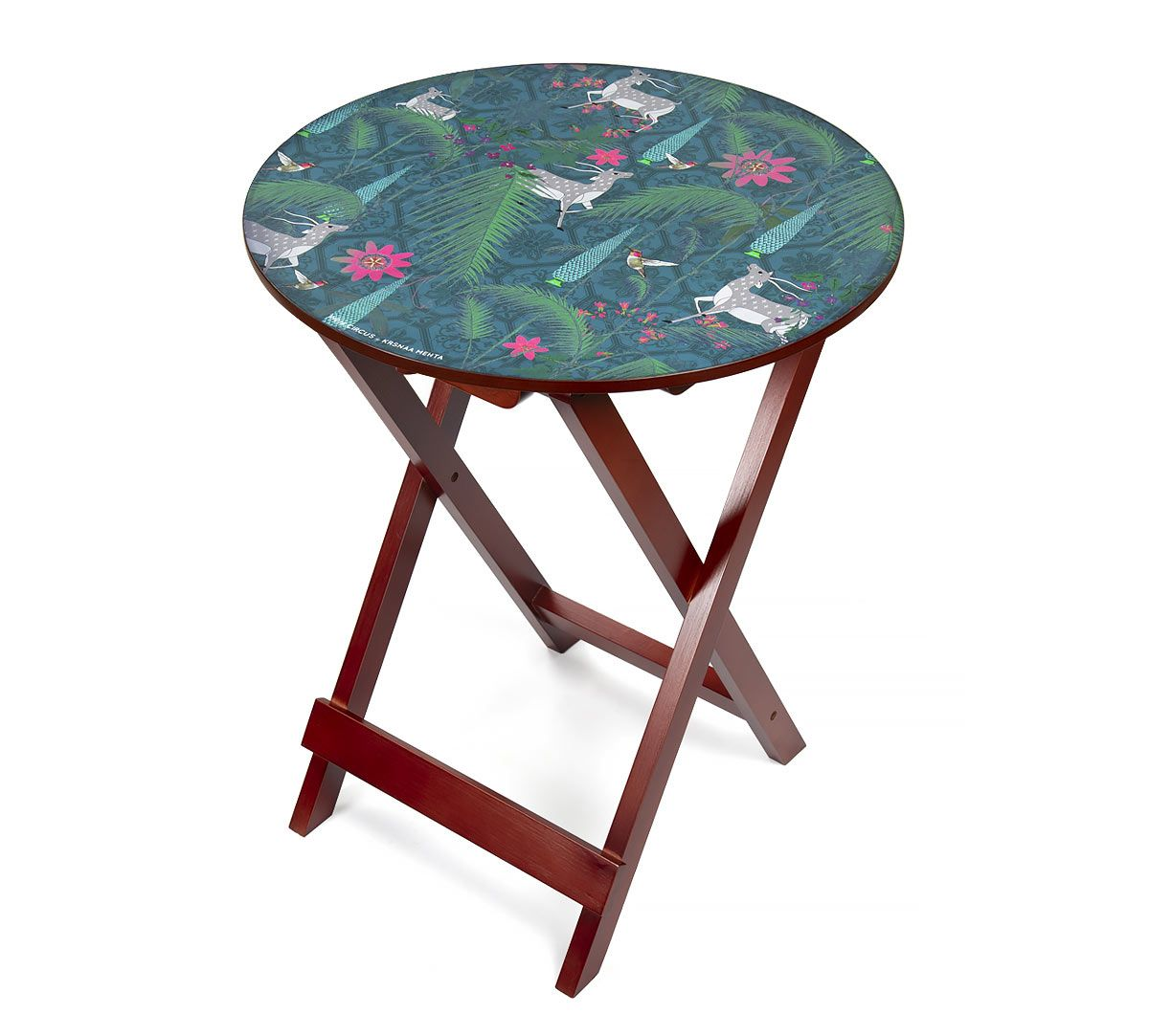 India Circus Teal Forest Fetish Round Side Table