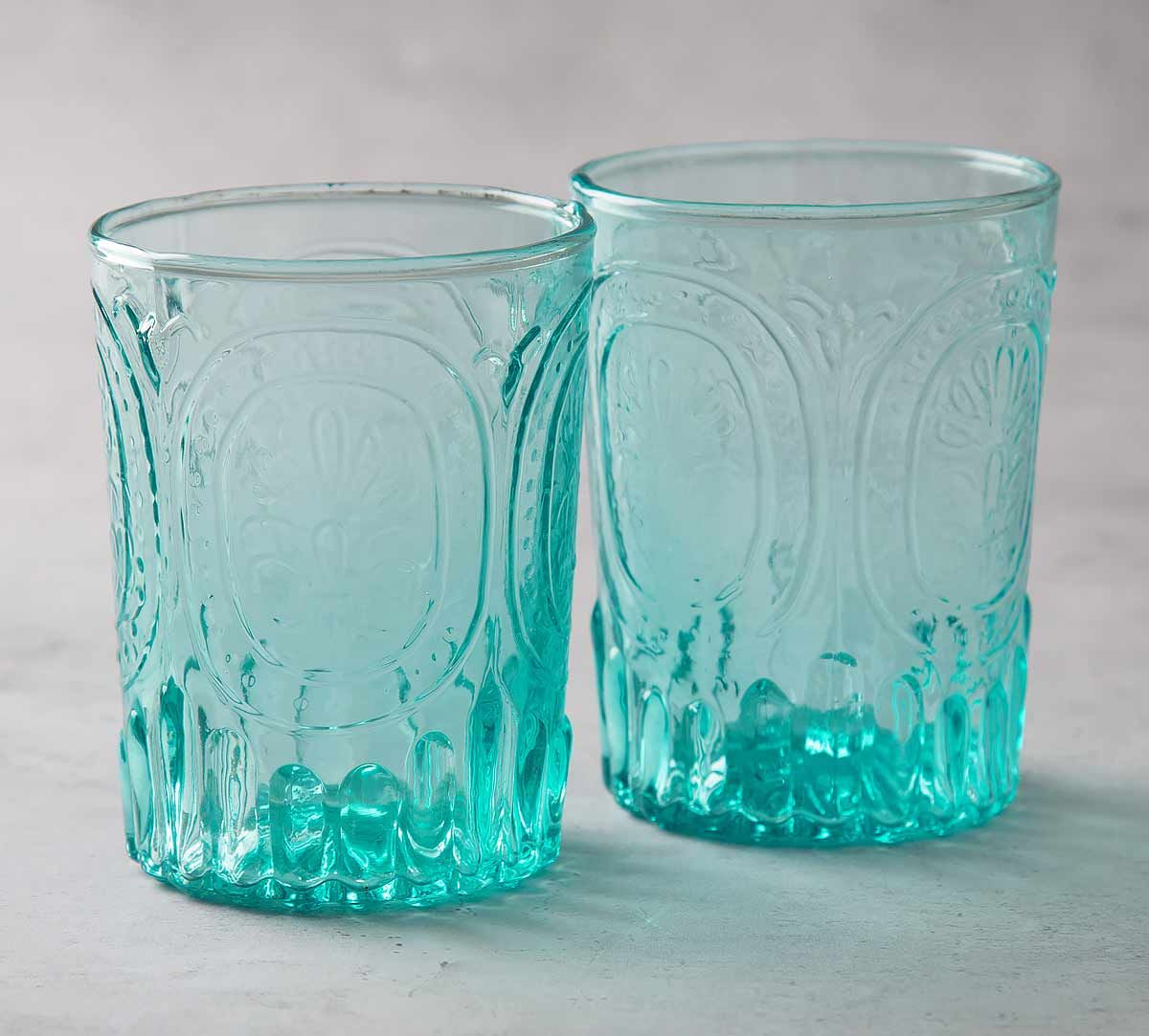 9f35baa31a04 India Circus Teal Glass Tumbler (Set of 2). Tap to expand