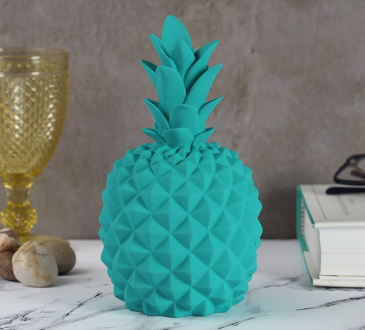 Teal Pineapple Decor Accent