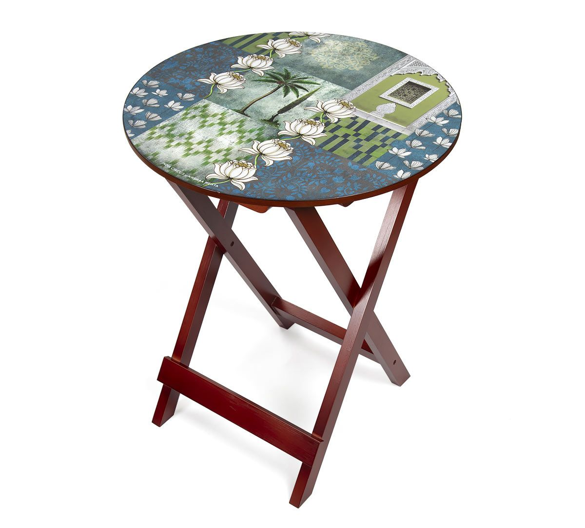India Circus Teal Tiled Lotus Extravaganza Round Side Table