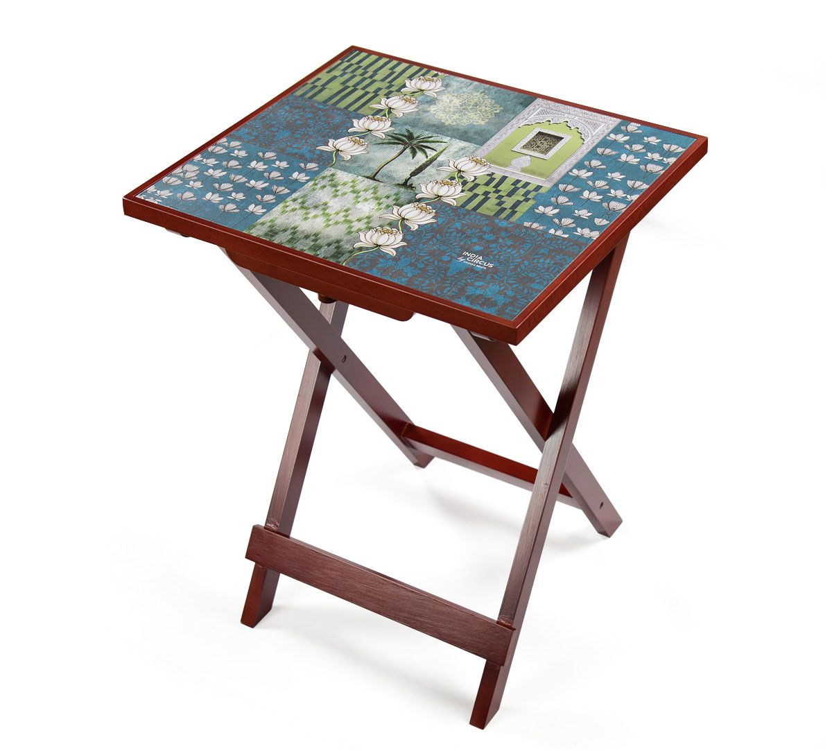 India Circus Teal Tiled Lotus Extravaganza Side Table