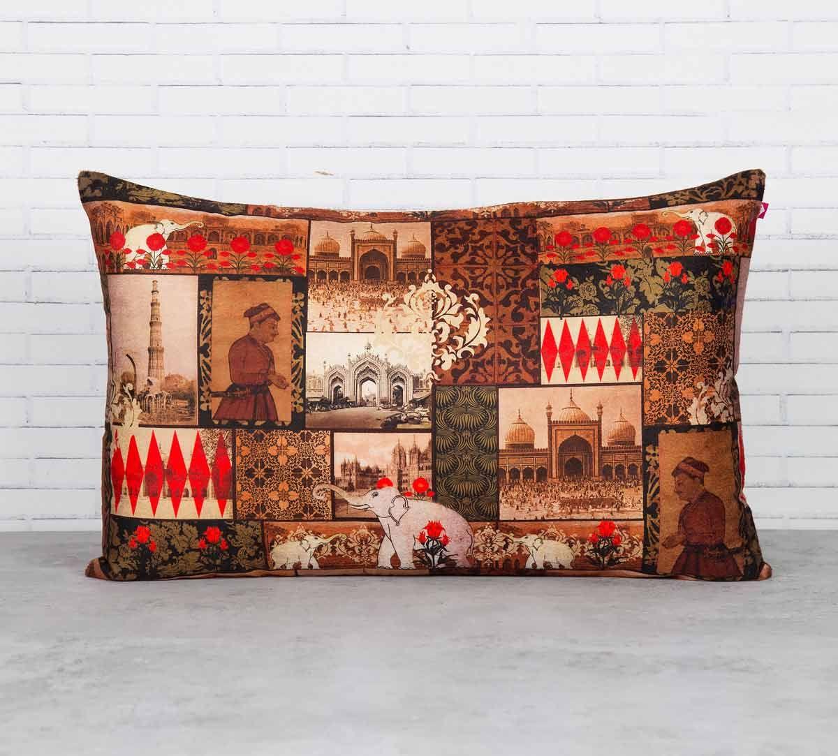 India Circus The Mughal Era Blended Velvet Cushion Cover