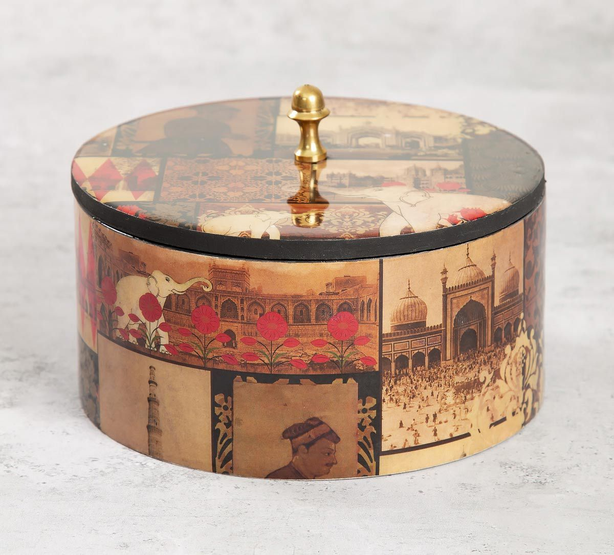 India Circus The Mughal Era Round Storage Box