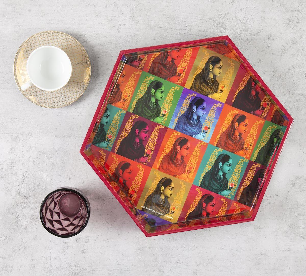 India Circus Tinted Queen Hexagon Serving Tray
