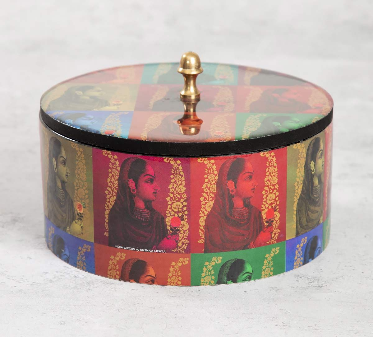 India Circus Tinted Queen Round Storage Box