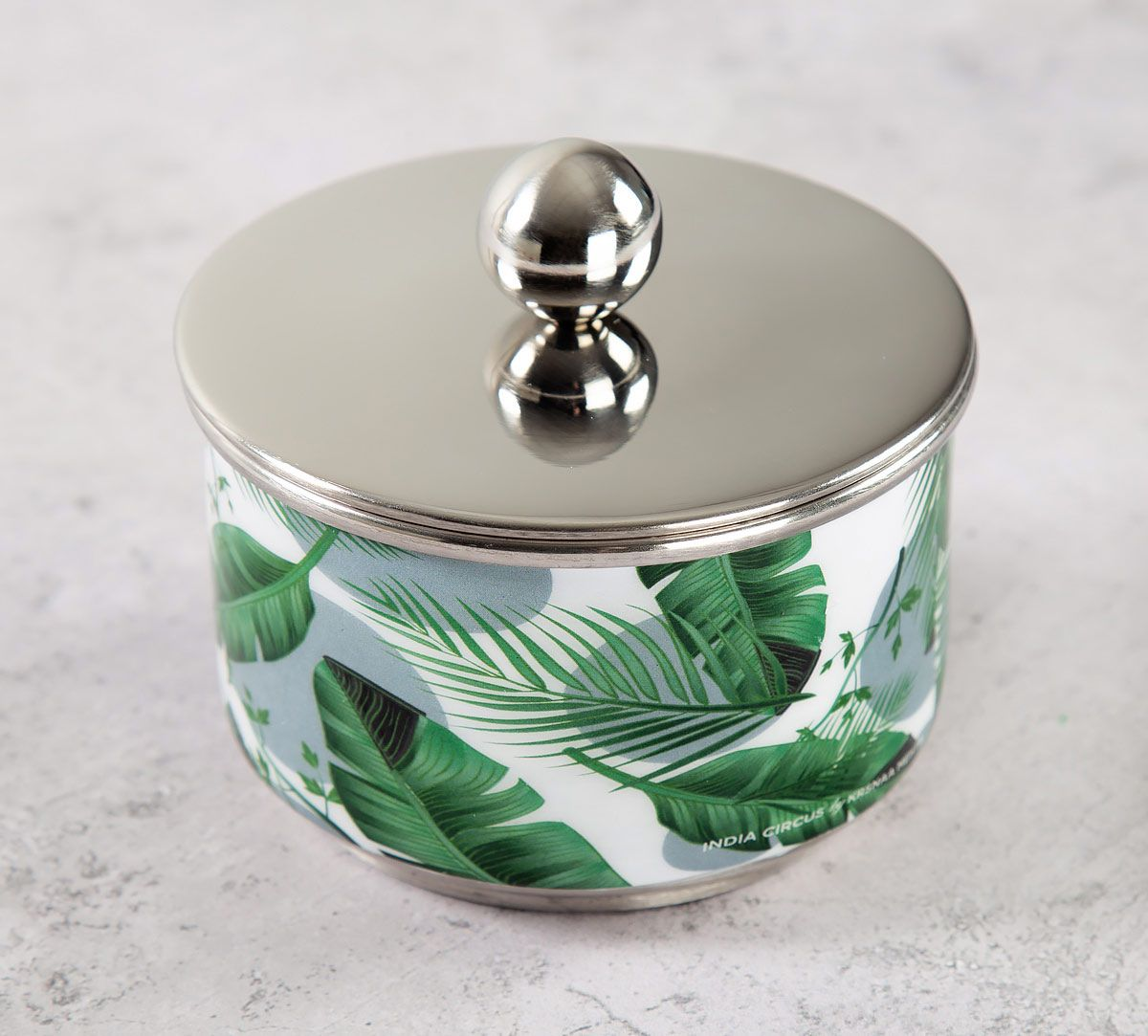 India Circus Tropical Leaves Steel Bowl with Lid