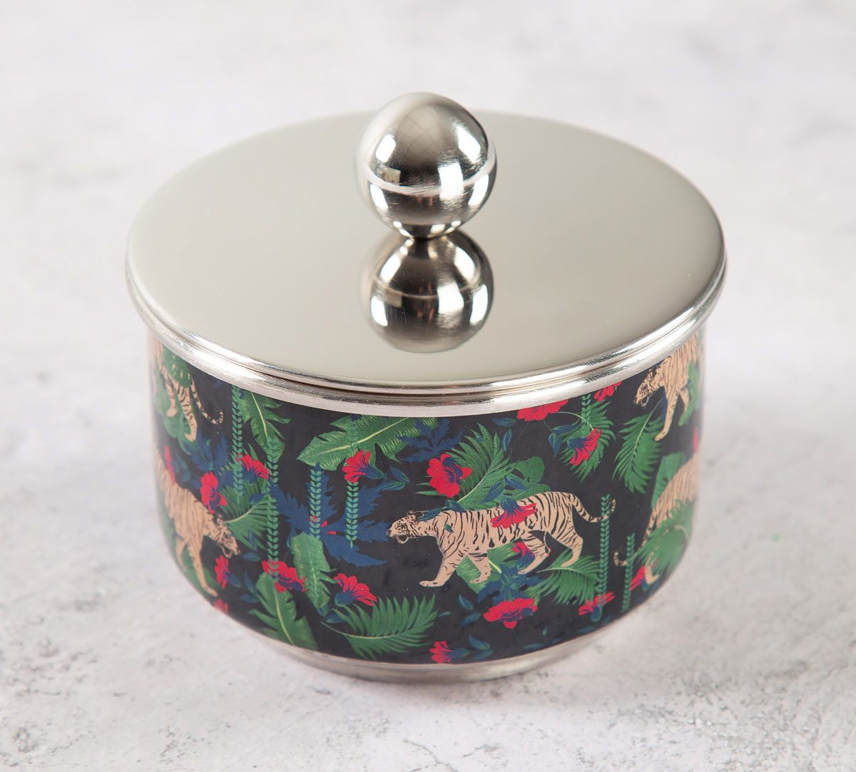 India Circus Tropical Tiger Steel Bowl with Lid