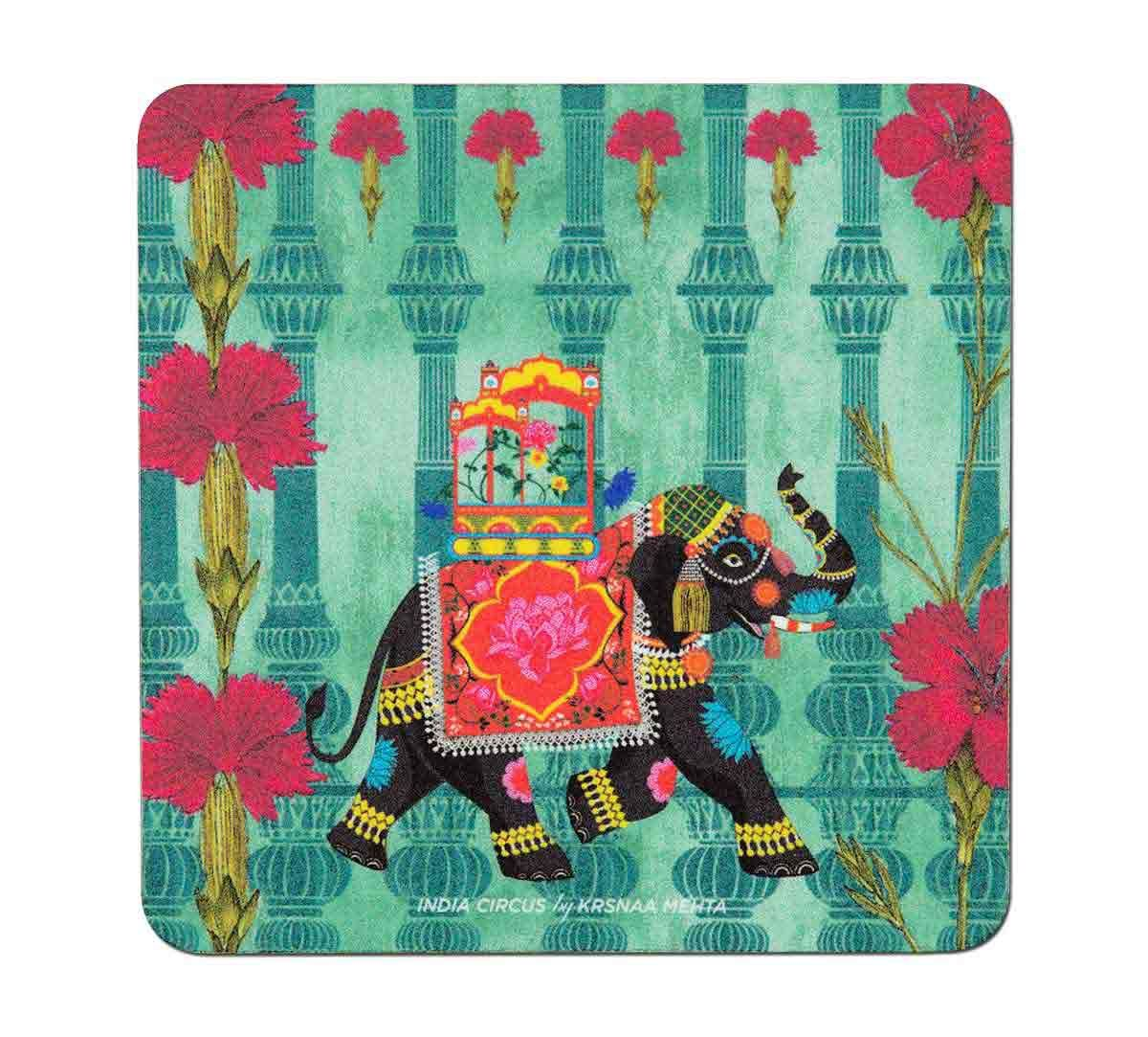 India Circus Tusker Chariot Table Coaster Set of 6
