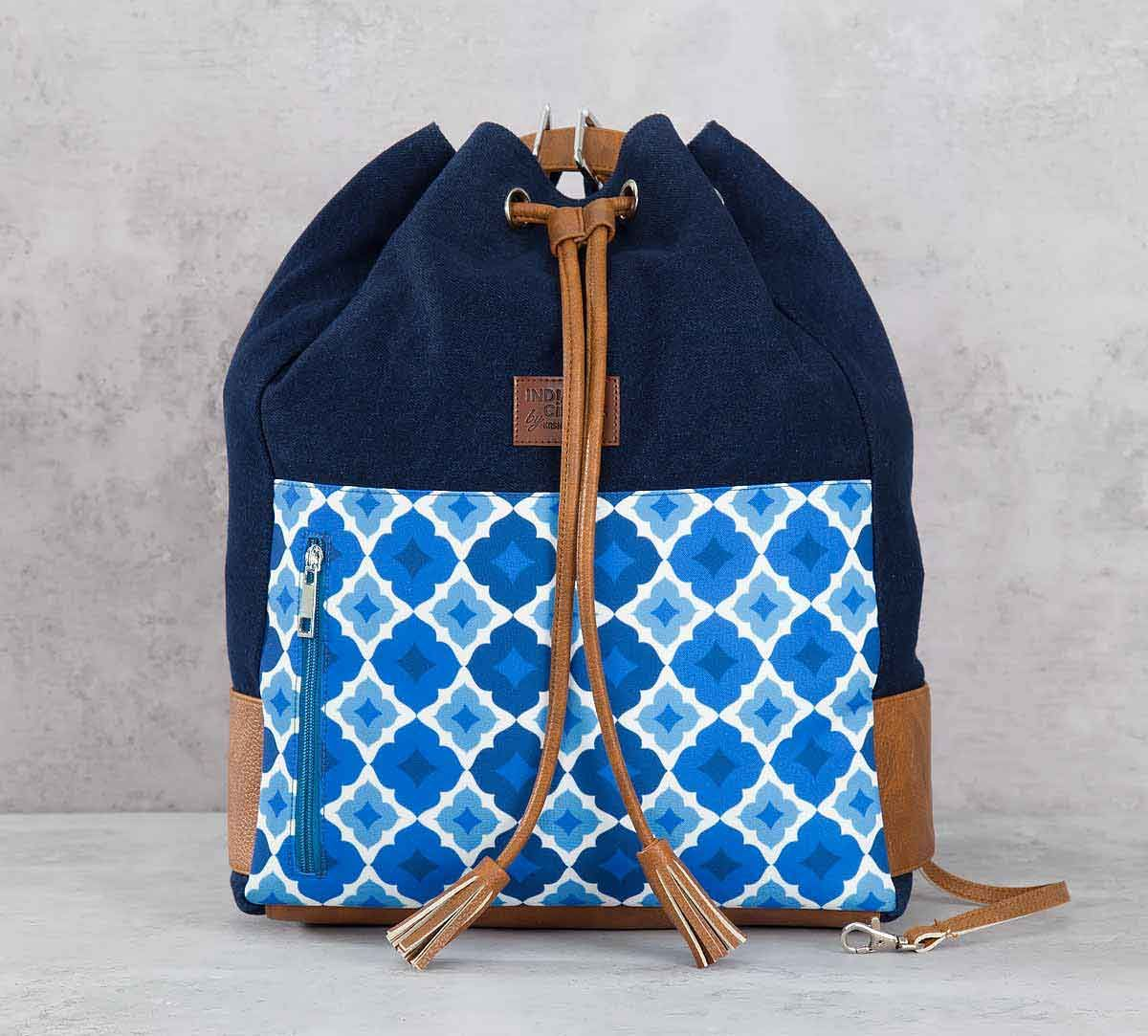 India Circus Ultramarine Tracery Denim Hobo Bag