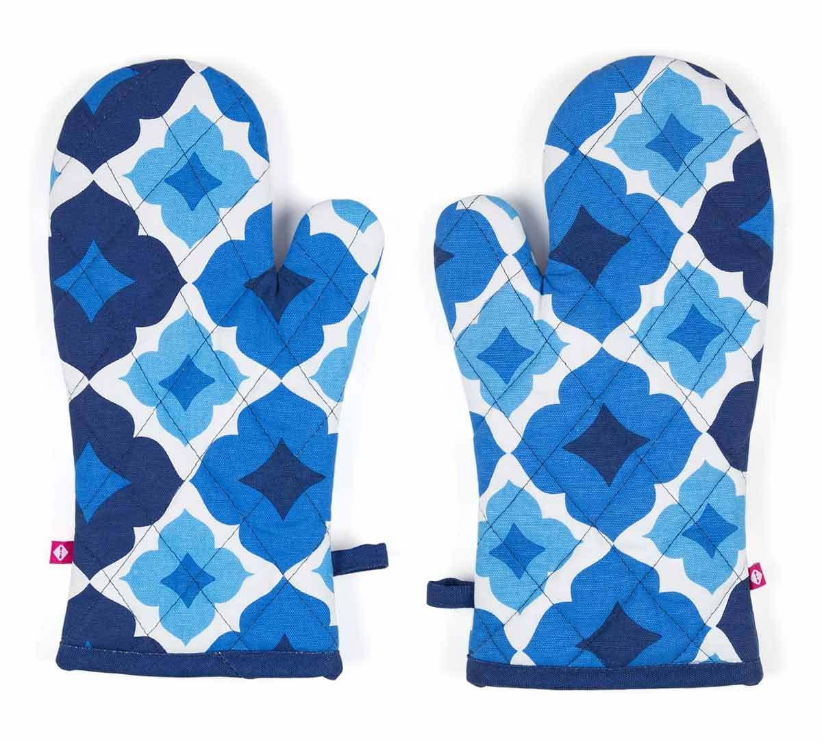 India Circus Ultramarine Tracery Oven Mitts