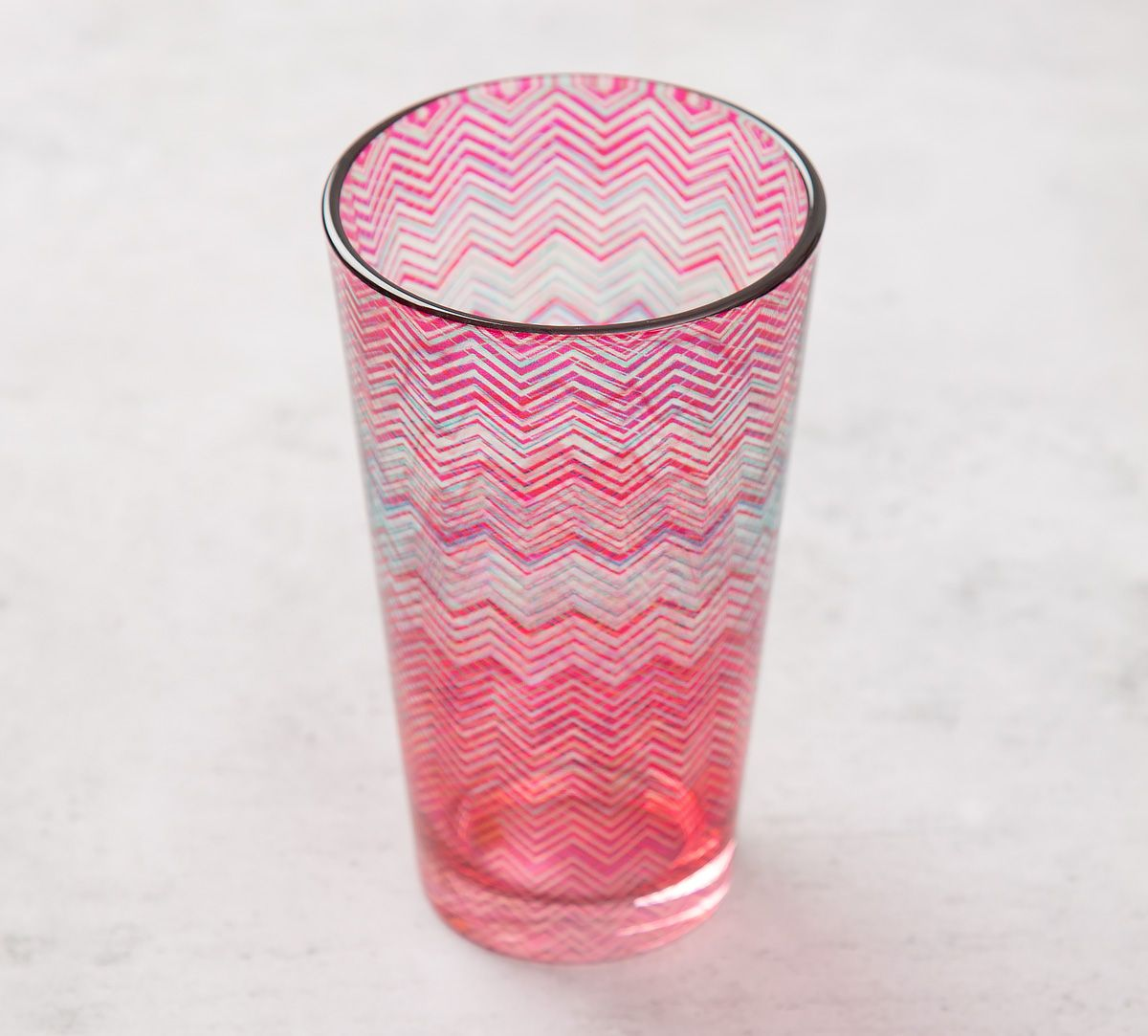9e34c6066d59 India Circus Waves of Chevron Glass Tumbler. Tap to expand