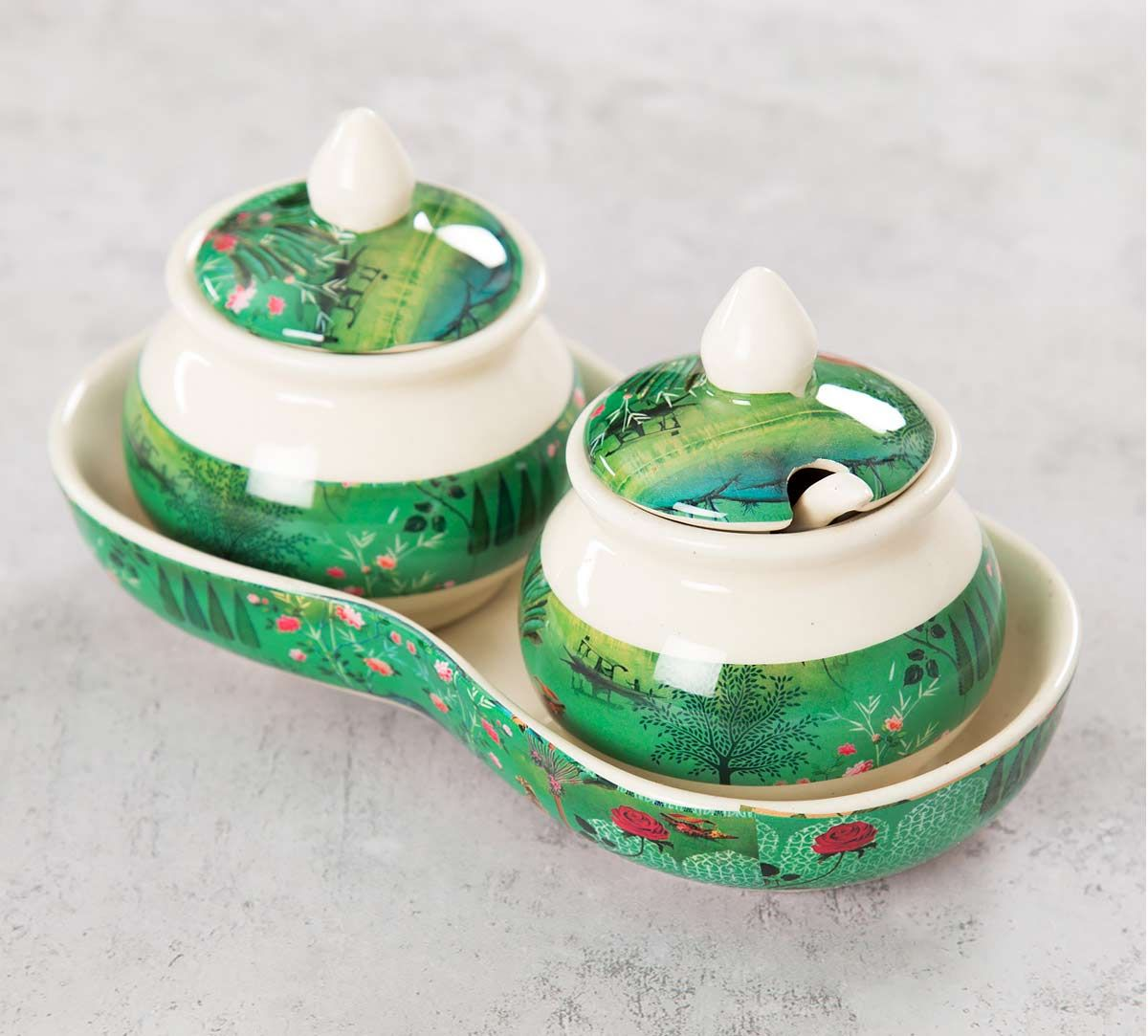 India Circus Whimsical Sundarban Ceramic Pickle Jar