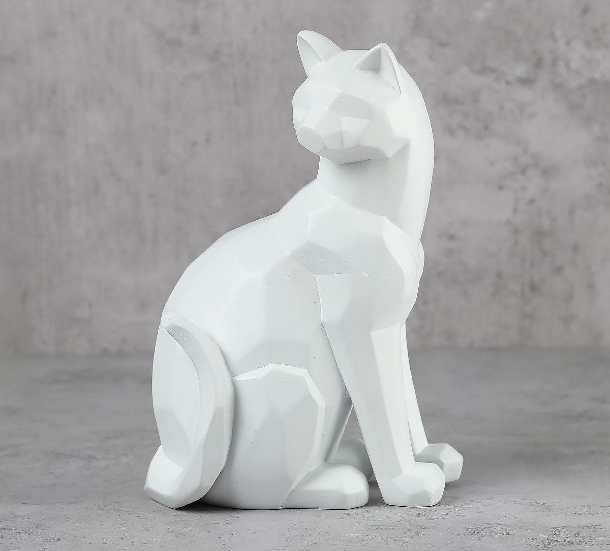 India Circus White Cat Figurine