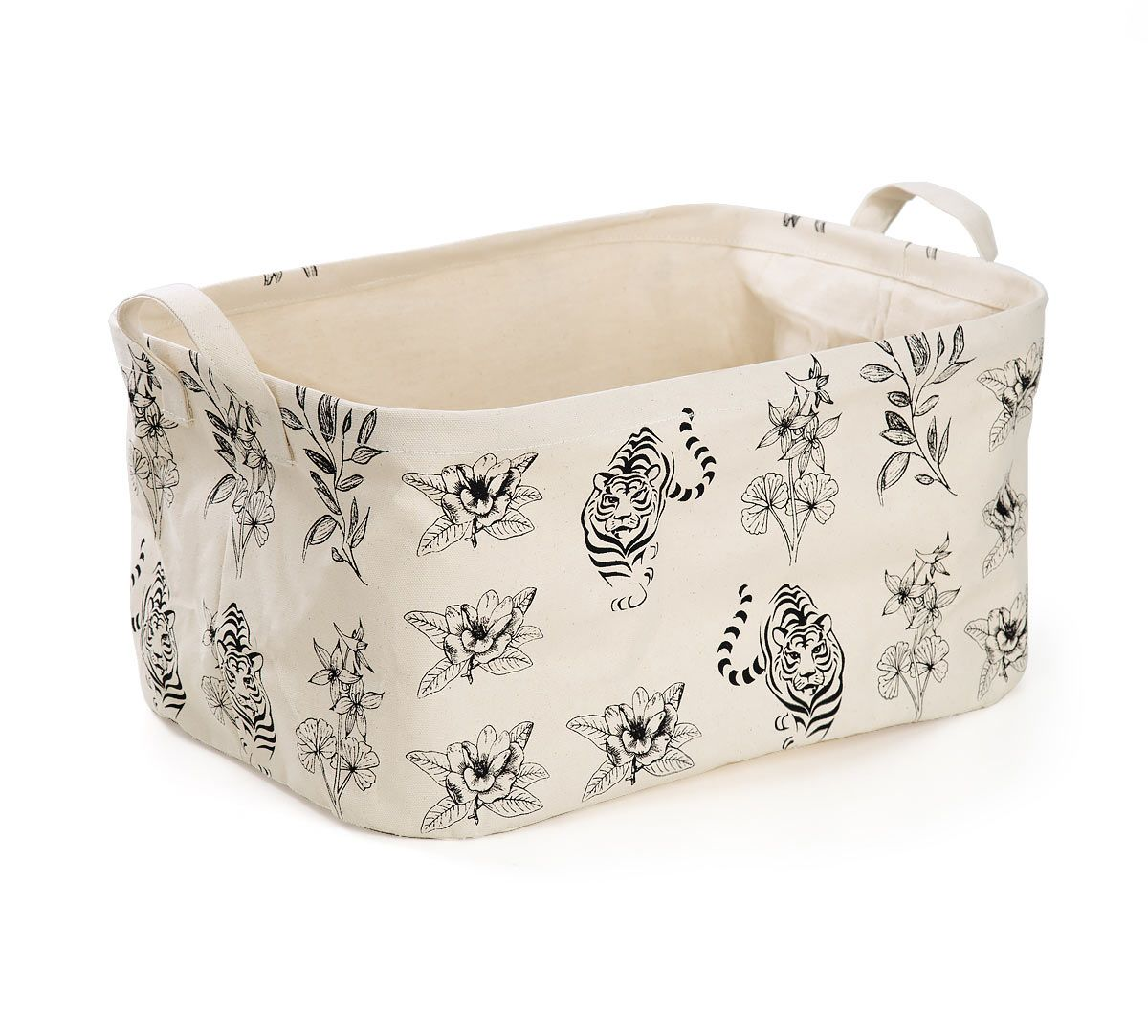 India Circus White Floral Sketch Rectangle Laundry Basket