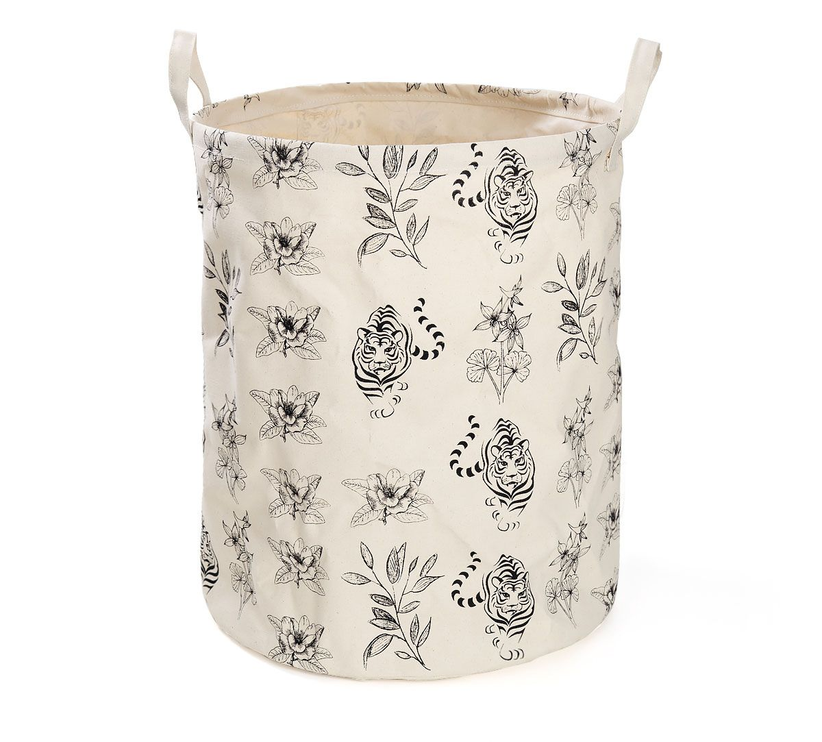 India Circus White Floral Sketch Round Laundry Basket