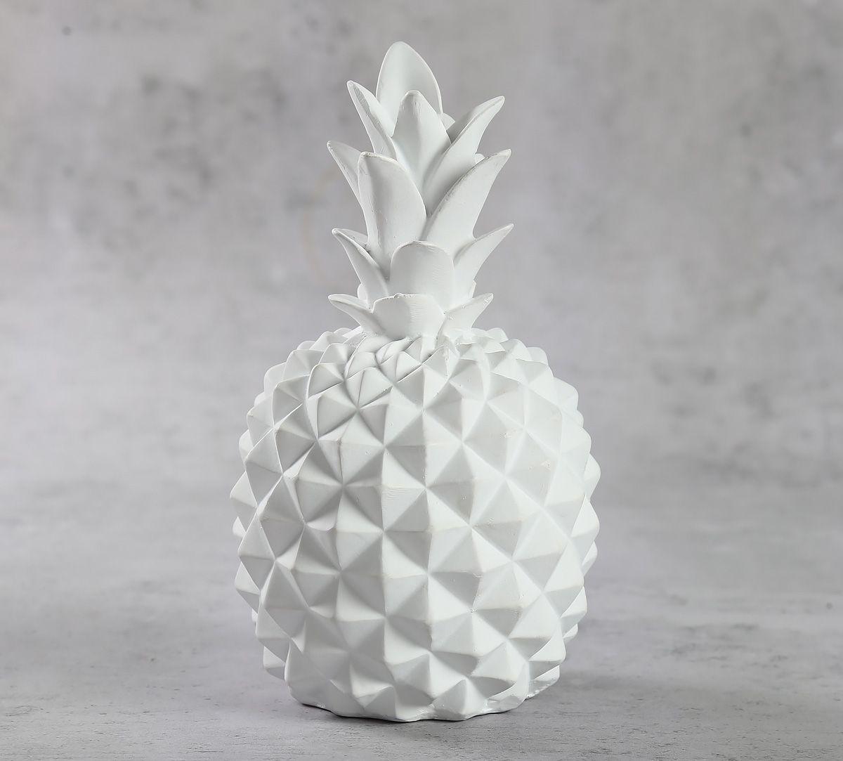 India Circus White Pineapple Decor Accent