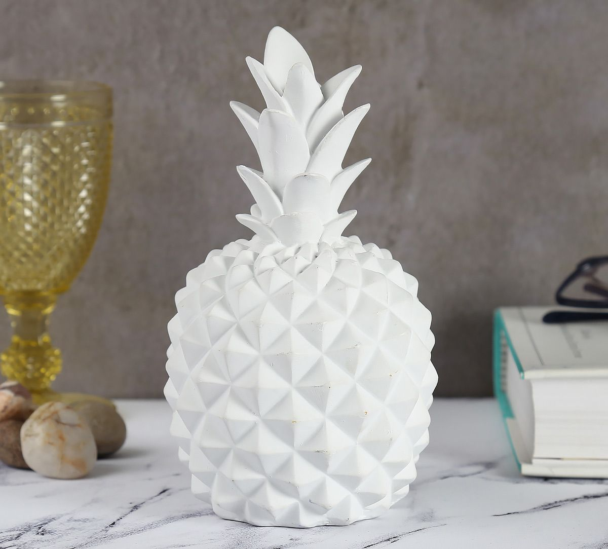 White Pineapple Decor Accent
