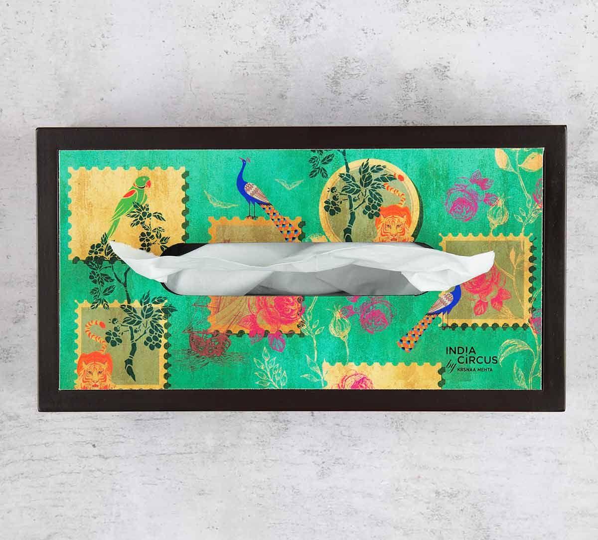 India Circus Wildlife Stamps MDF Tissue Box Holder