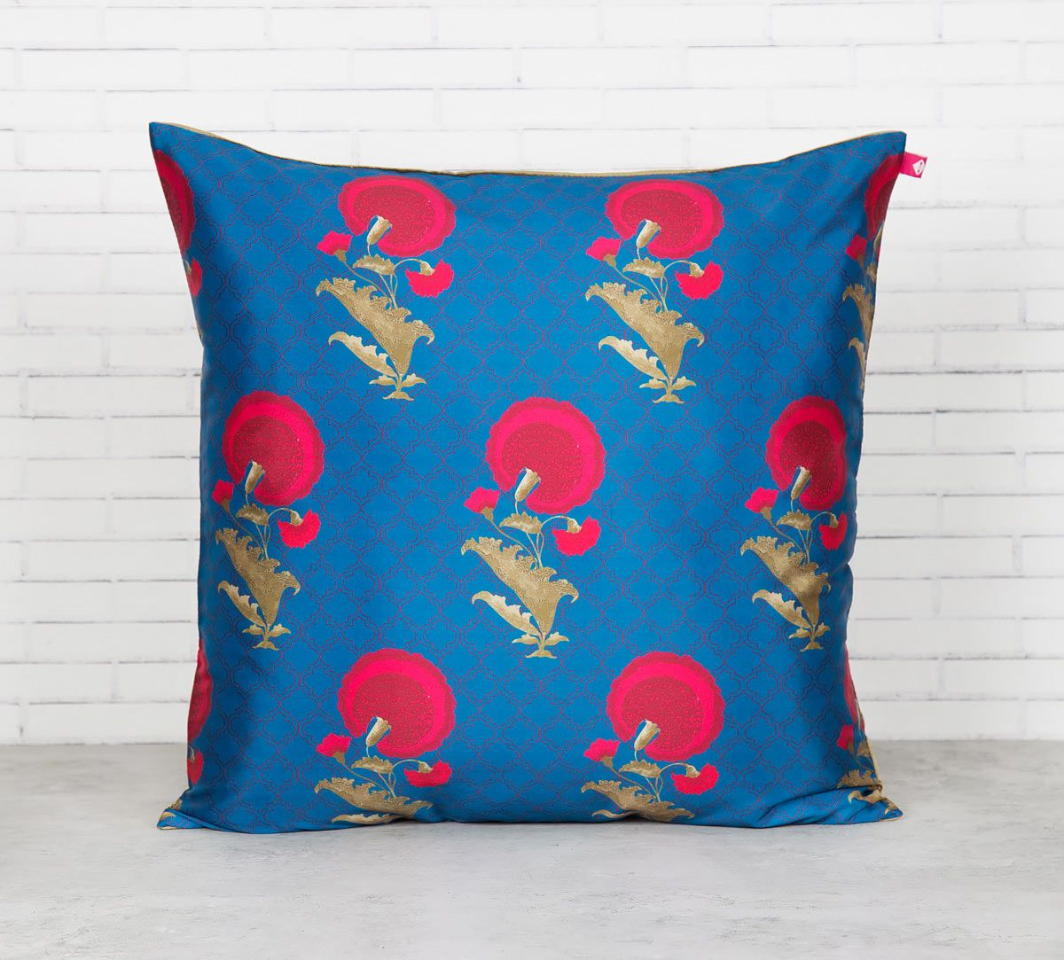 India Circus Yale Flower Regalia Blended Taf Silk Cushion Cover