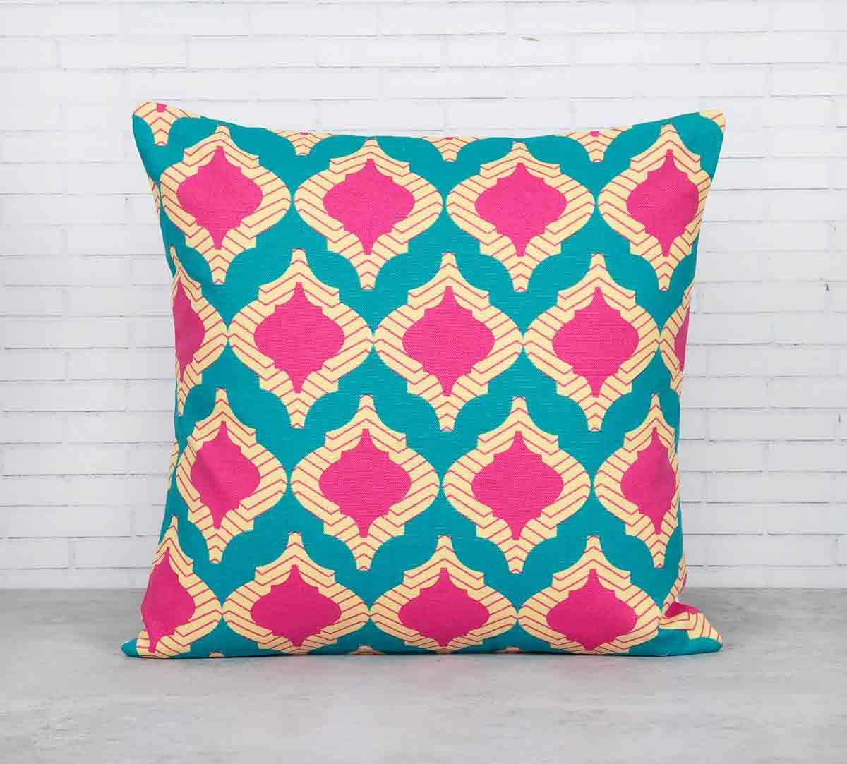 India Circus Lattice Practice Turquoise Blue Cotton Cushion Cover