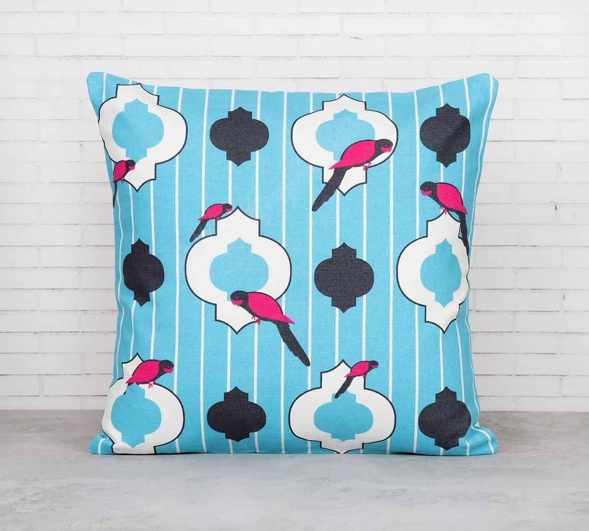 India Circus Peeking Parrots Turquoise Cotton Cushion Cover