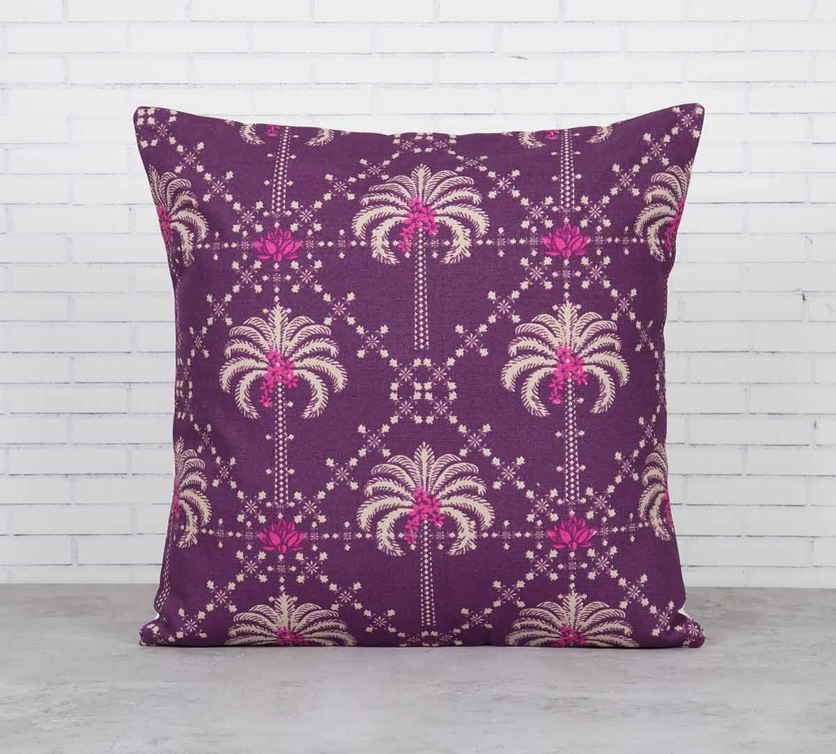 India Circus Poly Palmeira Sepia Cotton Cushion Cover