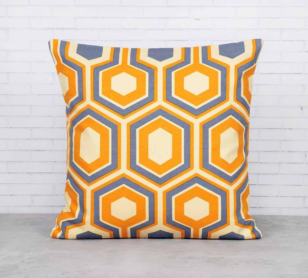 India Circus Prismatic Hexagons Lemon Cotton Cushion Cover