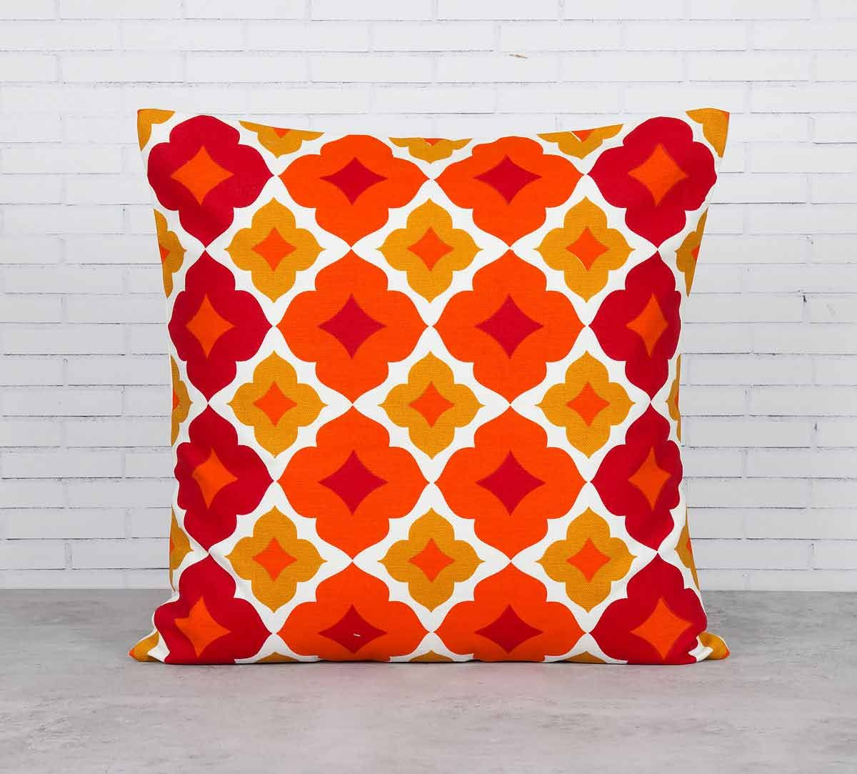 India Circus Summer Tracery Ginger Cotton Cushion Cover