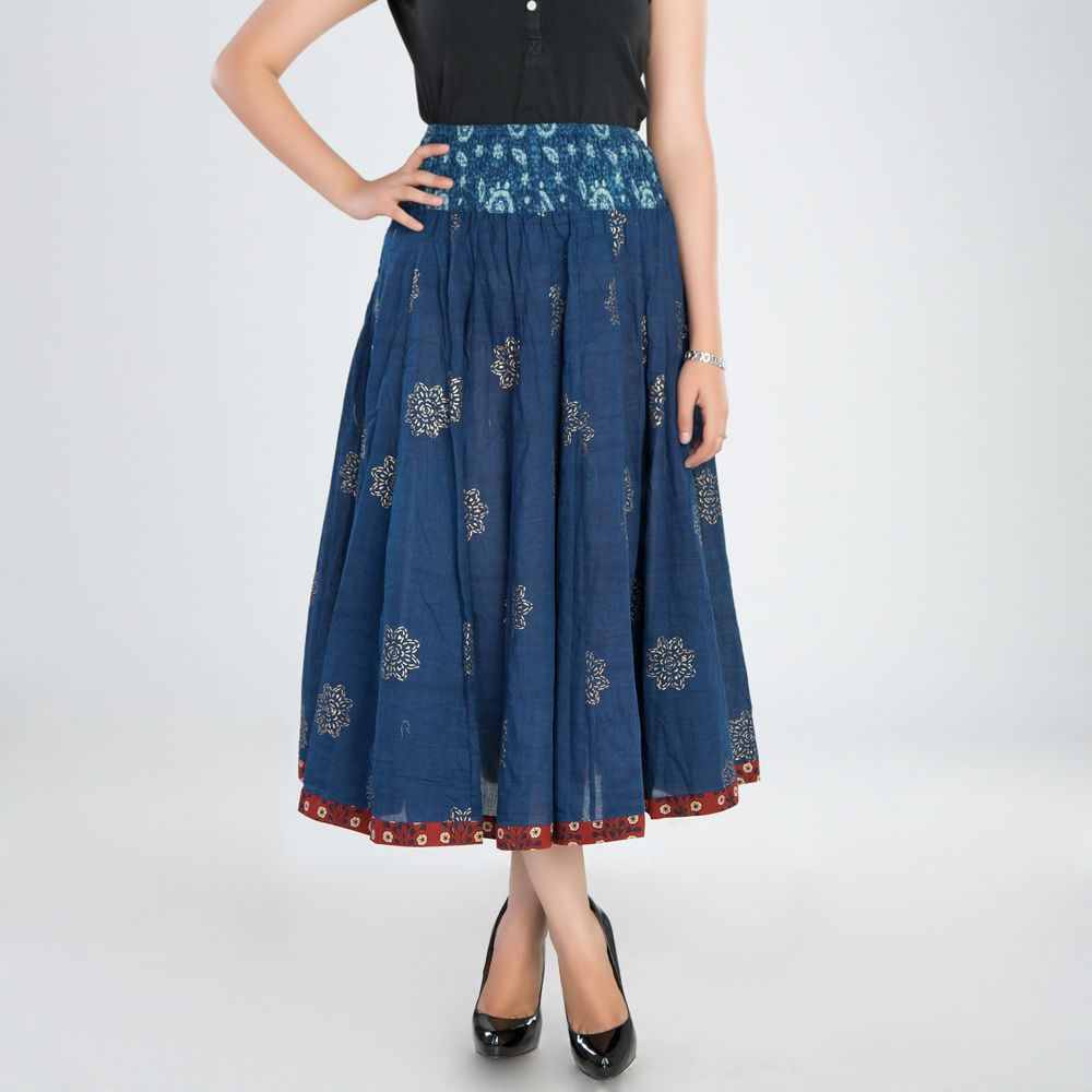 Indigo Printed Cotton Skirt