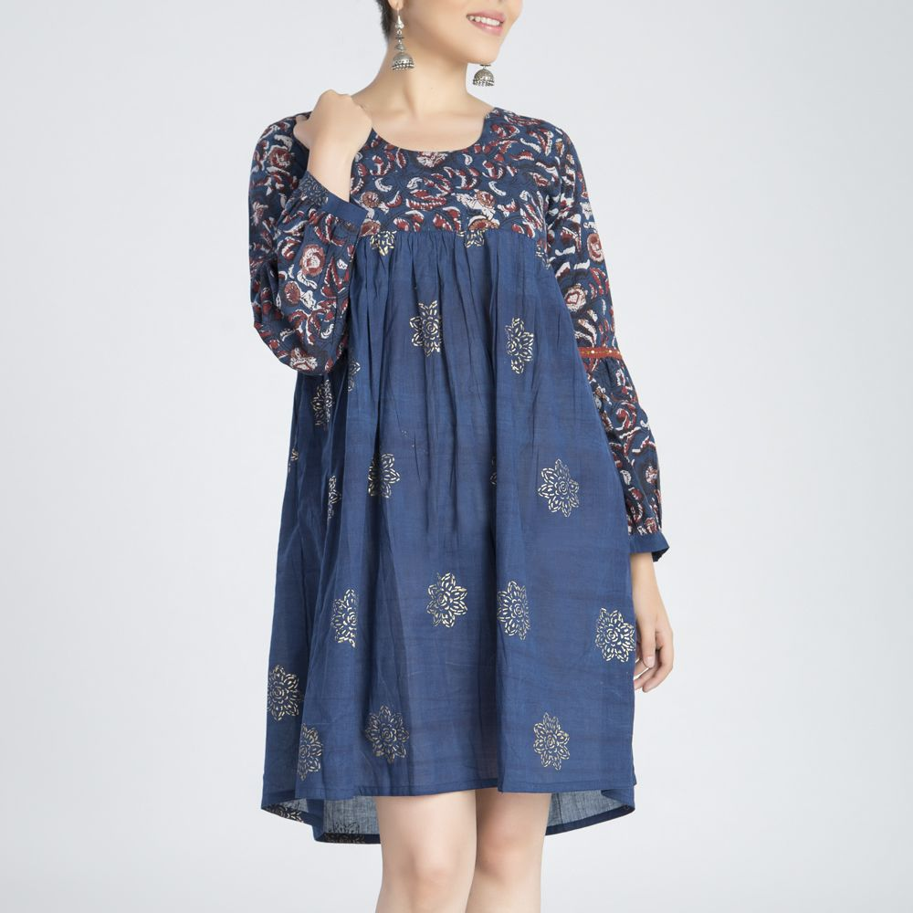Indigo Printed Gathered Cotton Dress