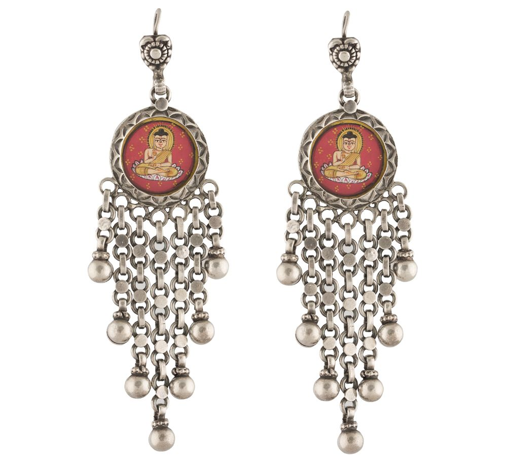 Lord Buddha Silver Earrings