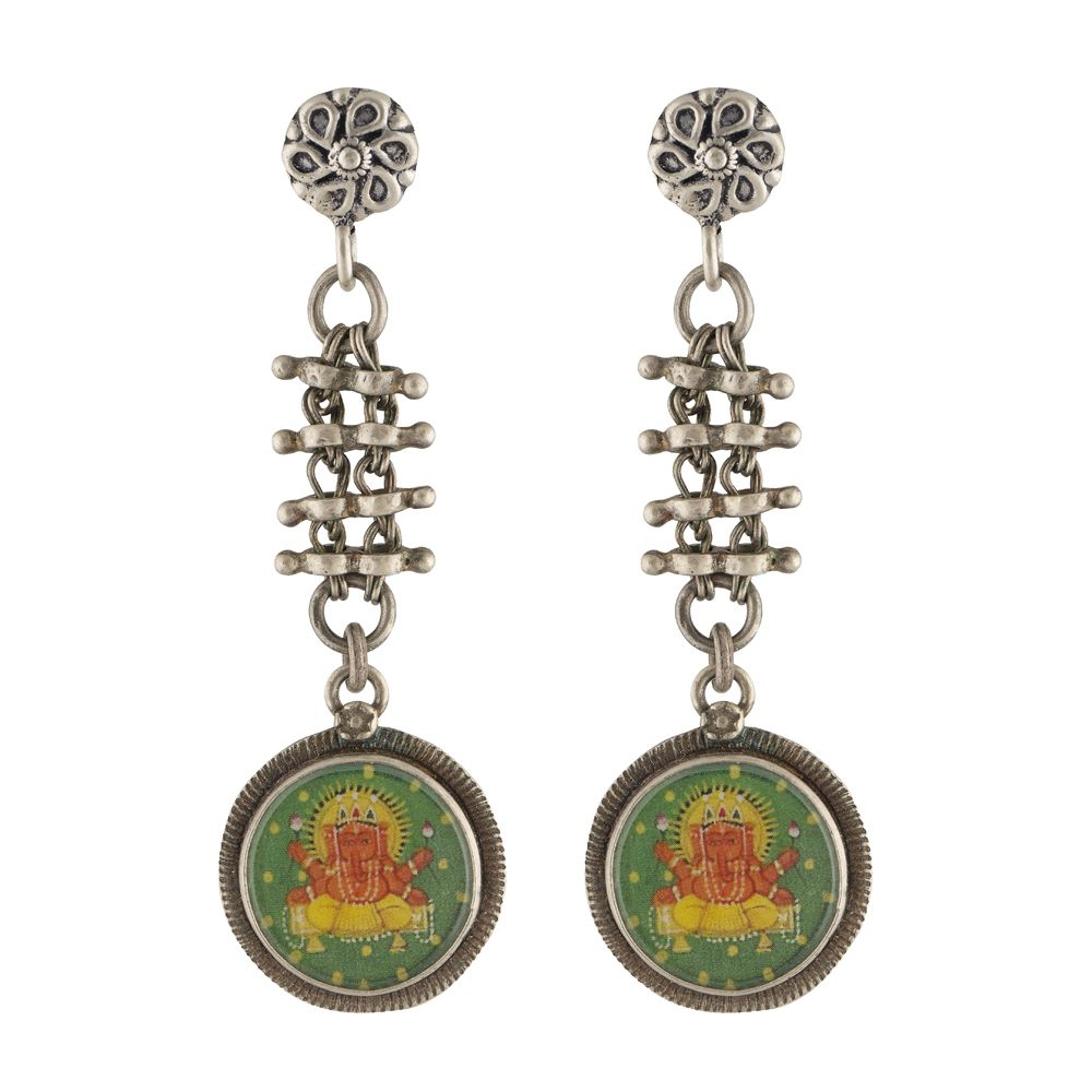 Lord Ganesha Chain Drop Silver Earrings