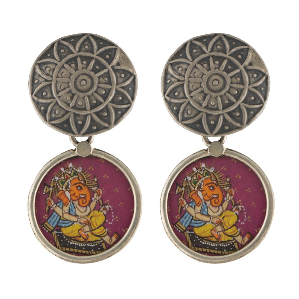Lord Ganesha Circular Silver Earrings