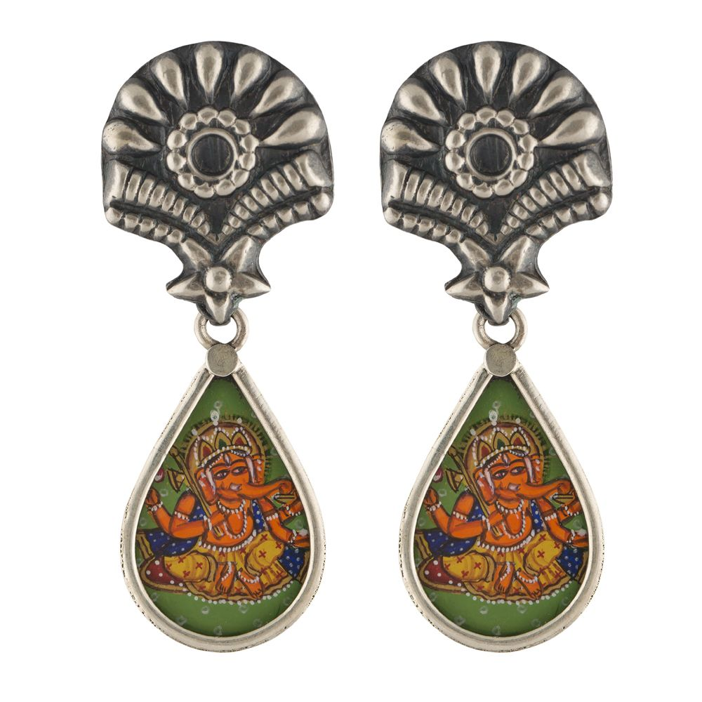 Lord Ganesha Foral Silver Earrings