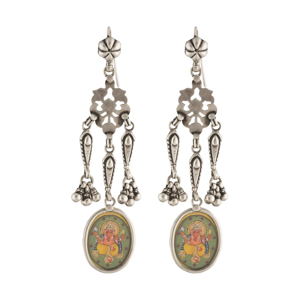 Lord Ganesha Silver Earrings