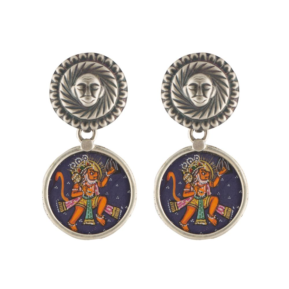 Lord Hanuman Concentric Silver Earrings