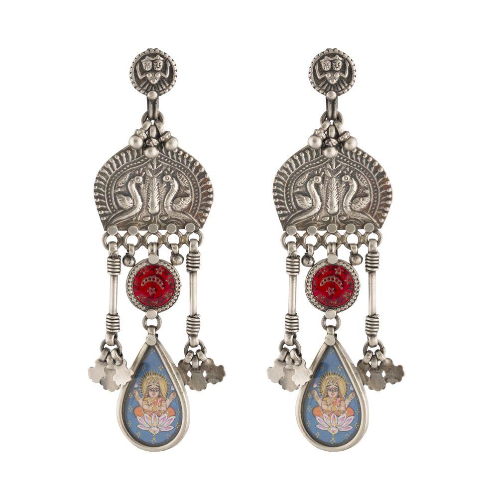 Lord Saraswati Peacock Silver Earrings