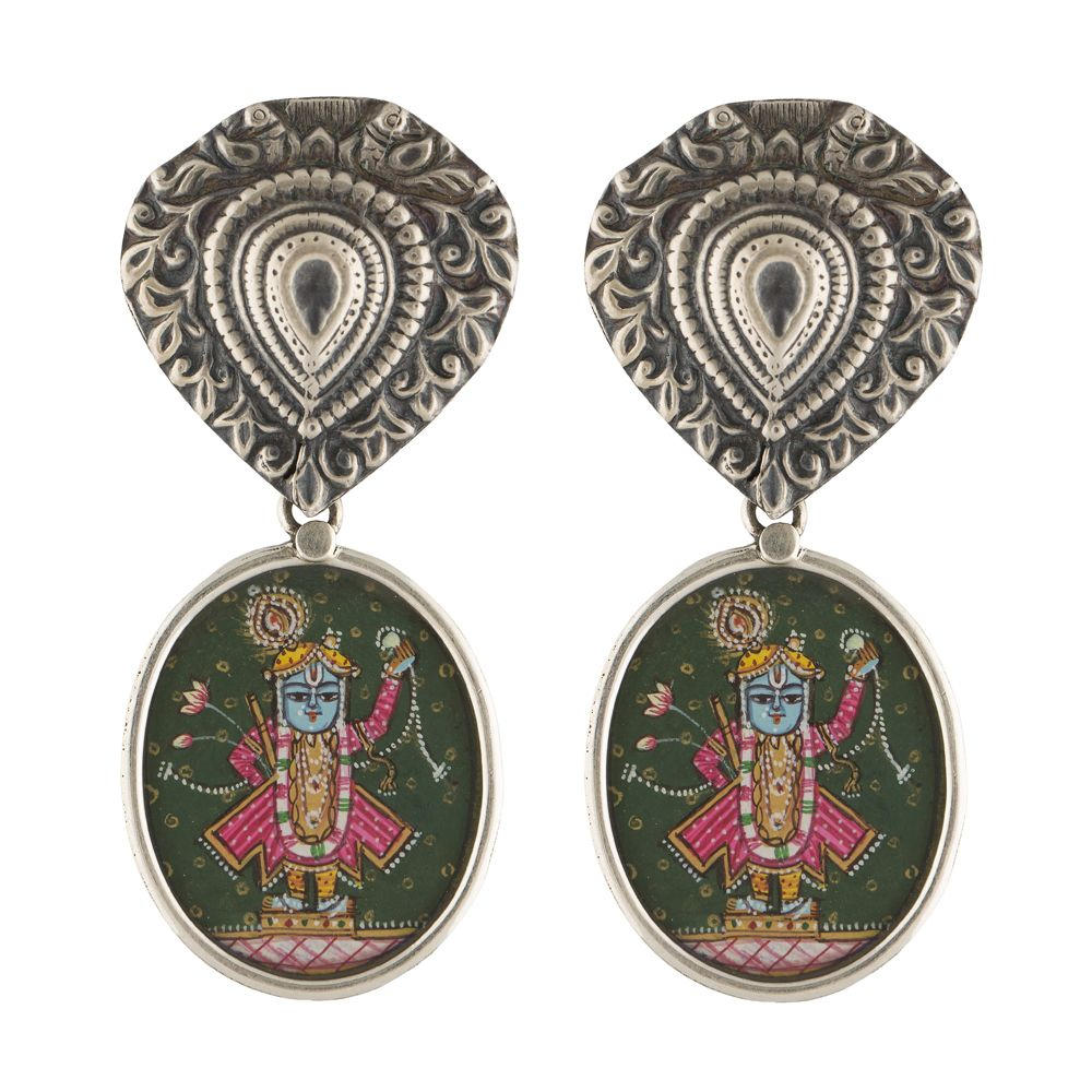 Lord Shrinathji Silver Earrings