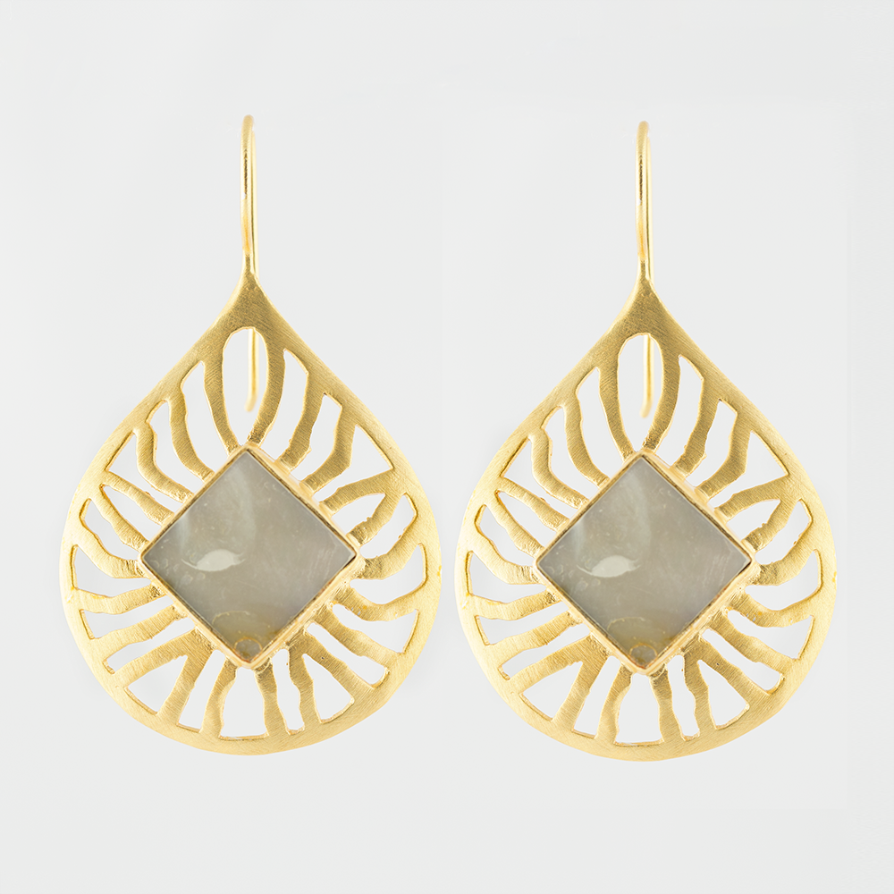 Mop Brass Earrings