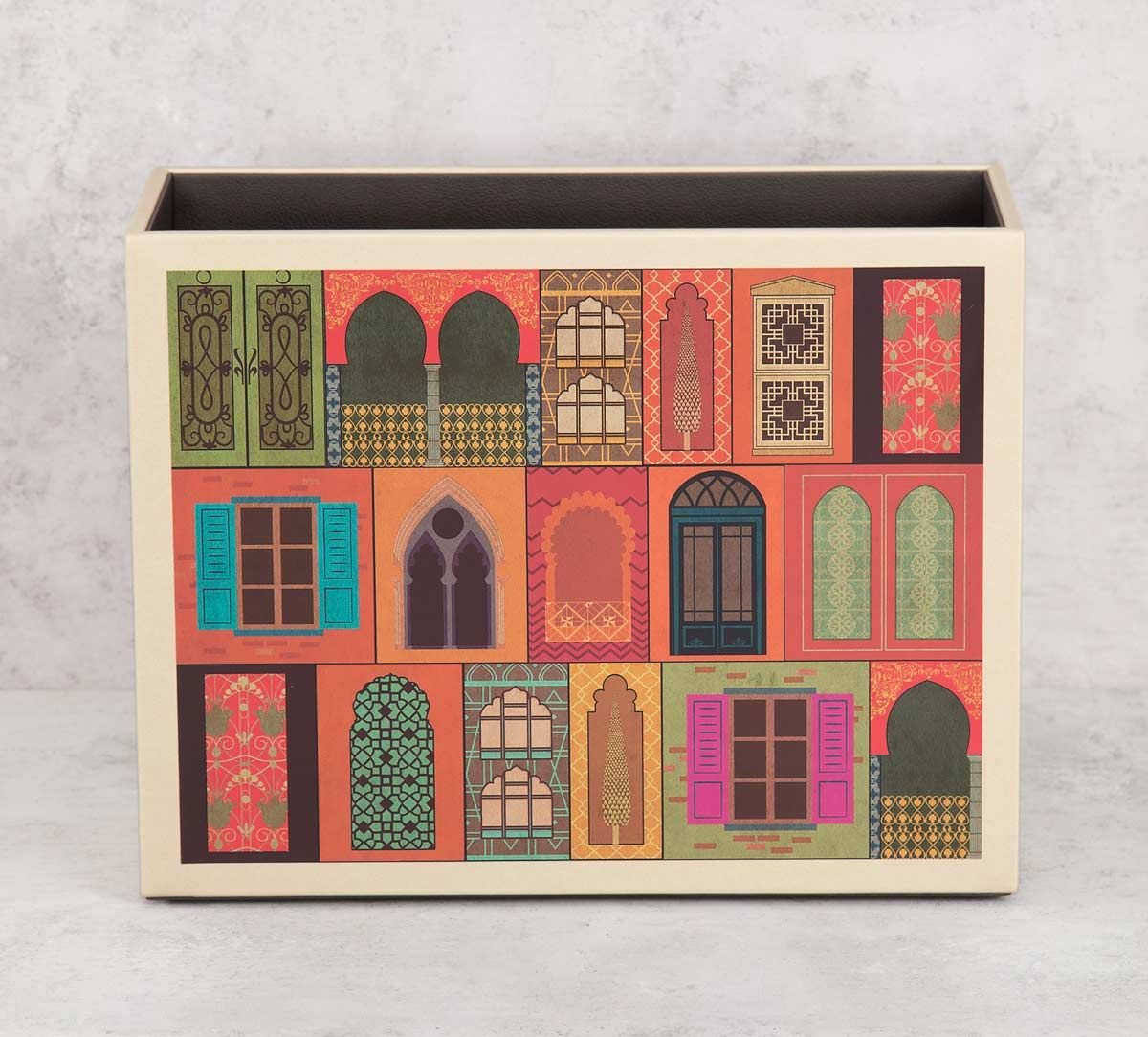 India Circus by Krsnaa Mehta Mughal Doors Reiteration Leather Magazine Holder