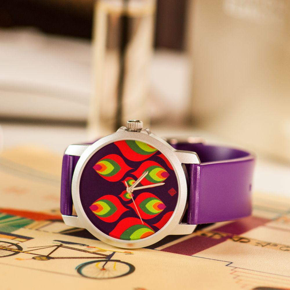 Multi-coloured Leaf Motif Women's Watch