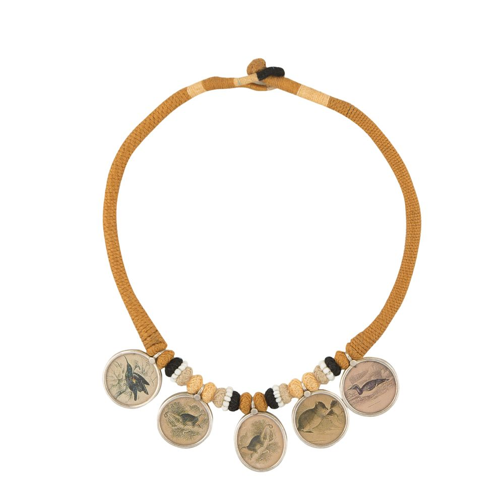 Mustard Bird Silver Necklace