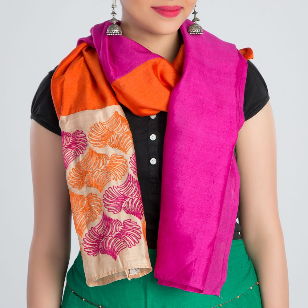 Orange Pink Embroidered Silk Stole