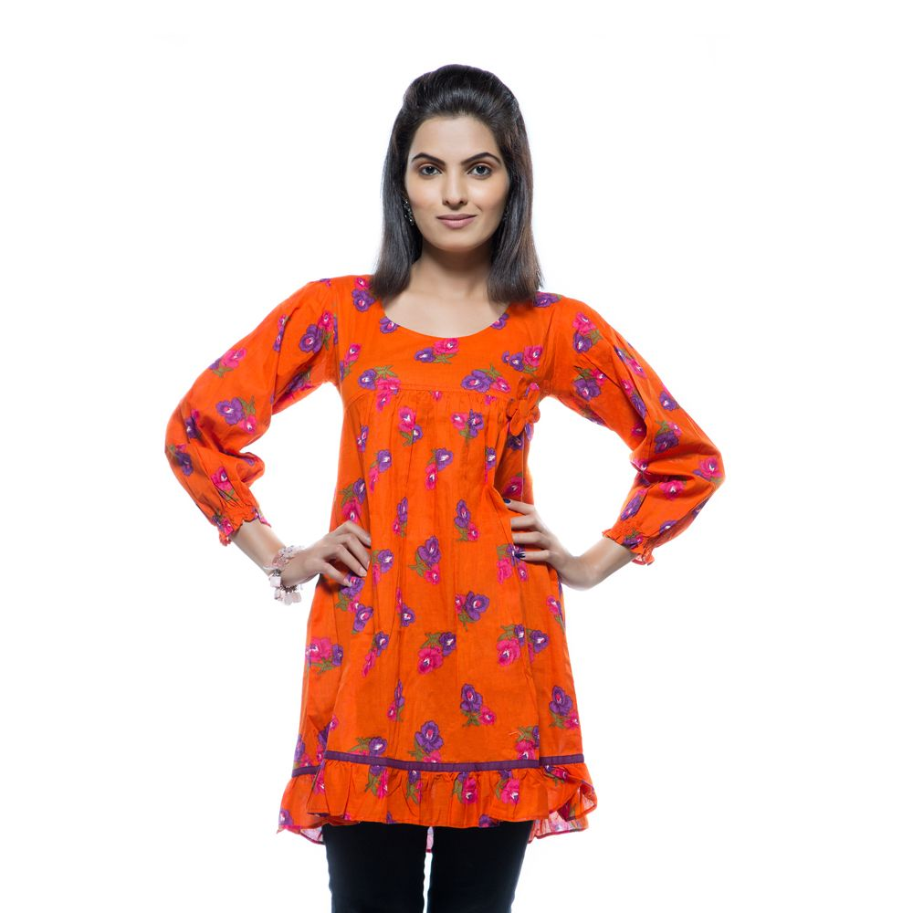 Orange & Purple Motif Dress