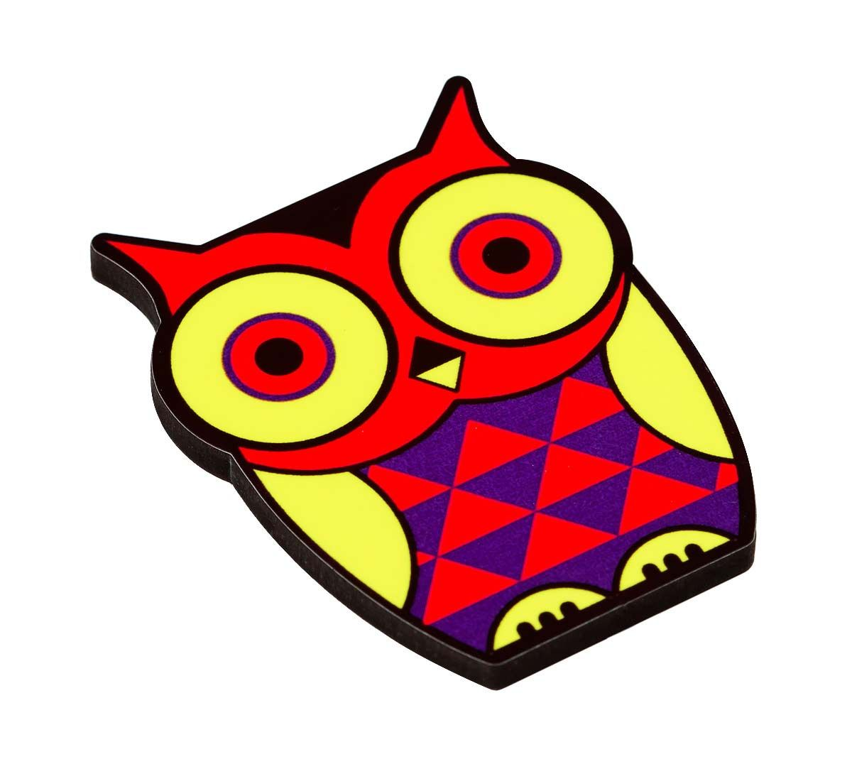 Peeking Owls MDF Fridge Magnet