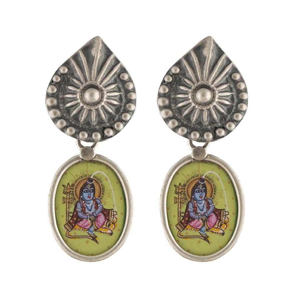 Petal Drop Lord Shiva Silver Earrings