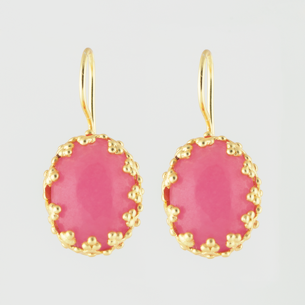 Pink Glass Brass Earrings
