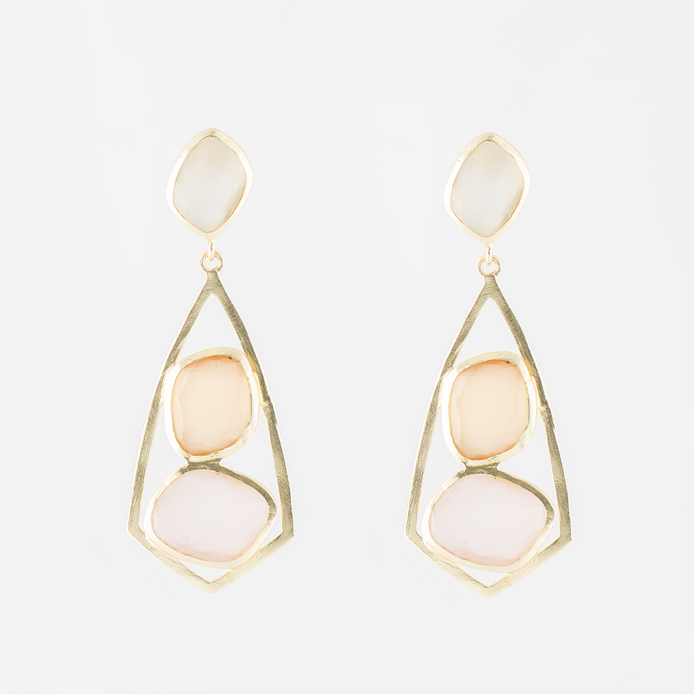 Quartz Bead Brass Earrings