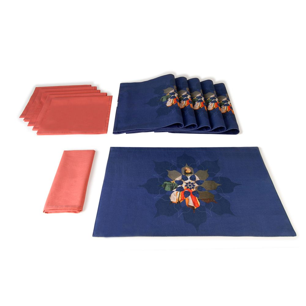 Blue Canvas Table Mat and Napkin(Set of 6)