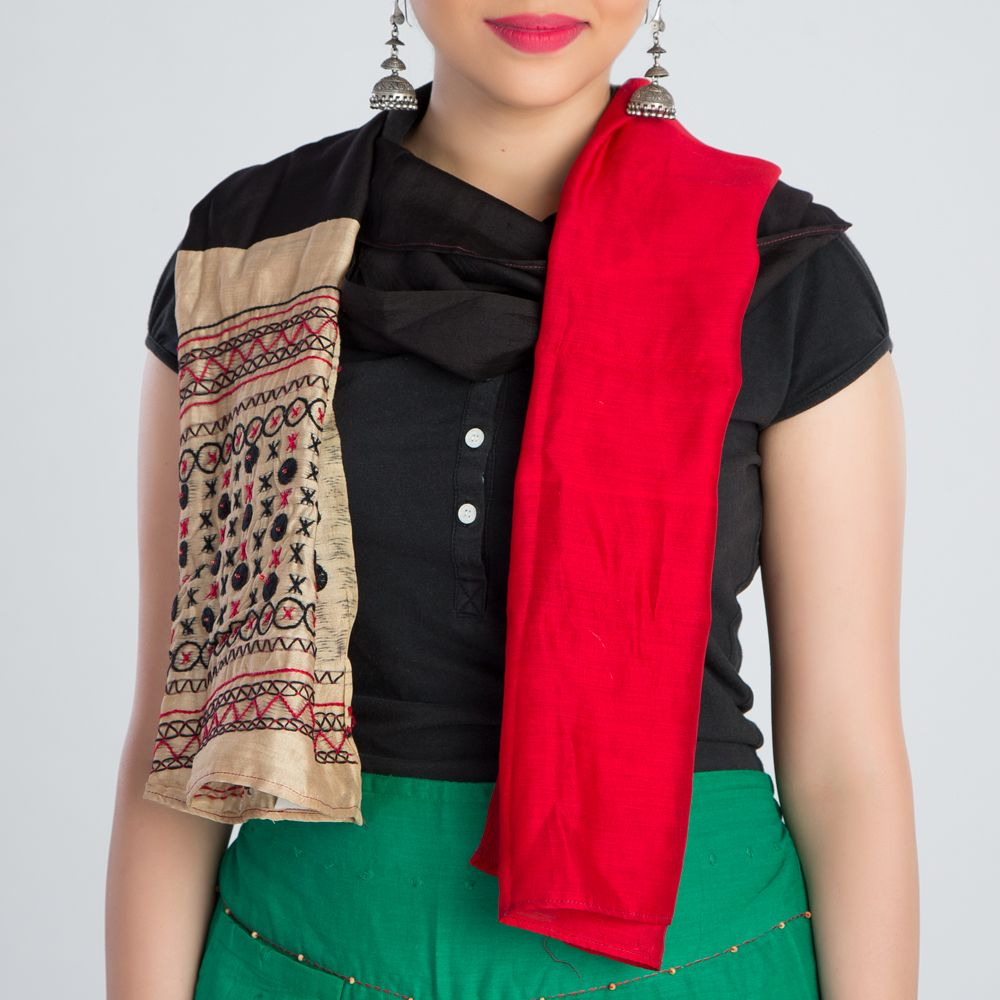 Red Black Embroidered Silk Stole